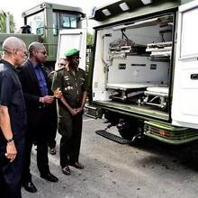 President David Granger and Chief of Staff of the GDF, Brigadier Patrick West inspect one of the off-road ambulances
